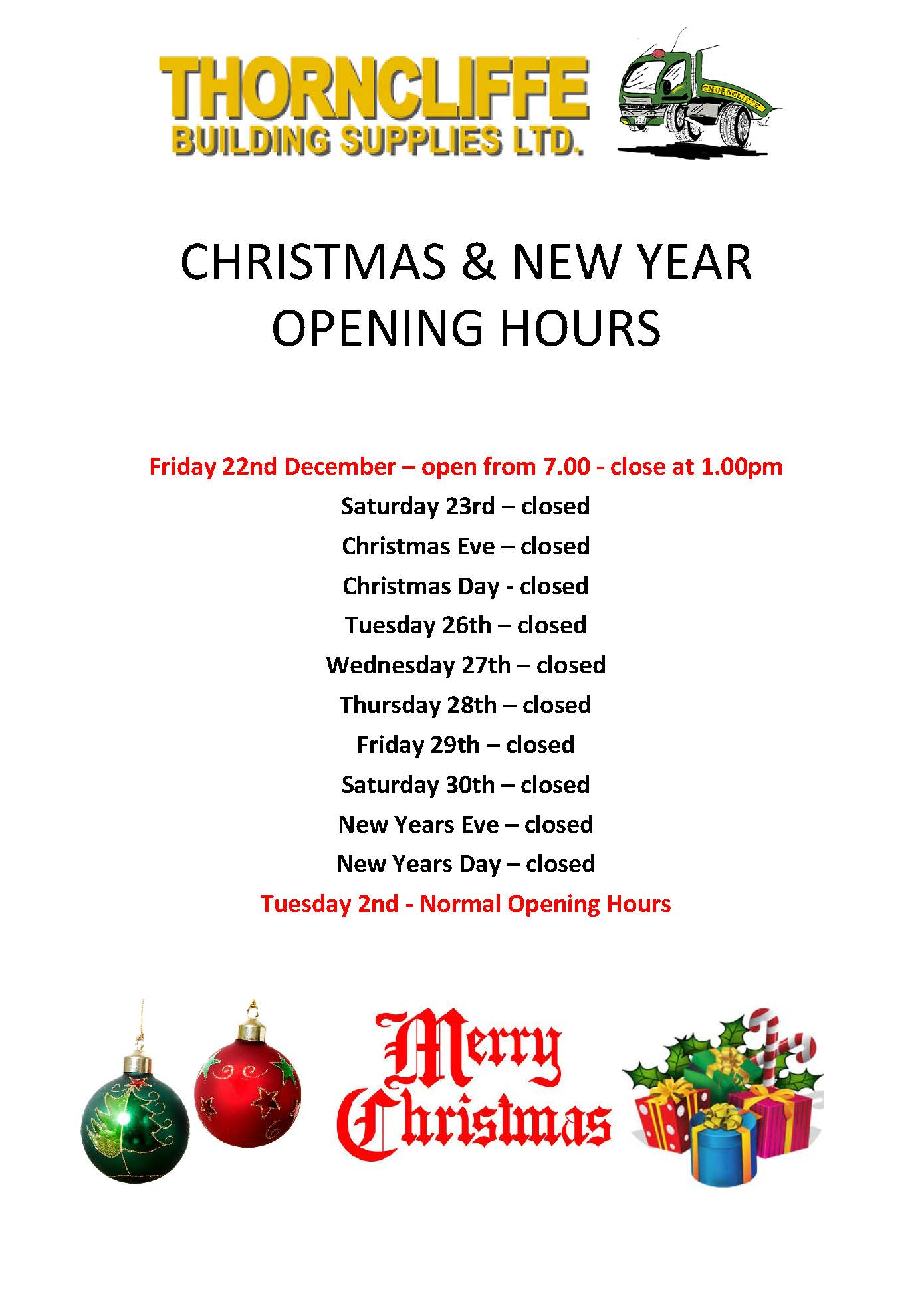 Christmas Amp New Year Opening Times 2017 Thorncliffe
